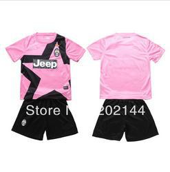 kids gift! 12/13 Juventus away pink thai quality kids soccer football jersey+shorts kits,size:16-28
