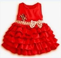 New Summer Fashion Cartoon Minnie Bow Tiered Dress 2 colors, girls princess dress free shipping