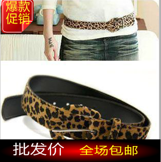 The trend of fashion women's strap magazine recommended sexy leopard print velvet belt(China (Mainland))
