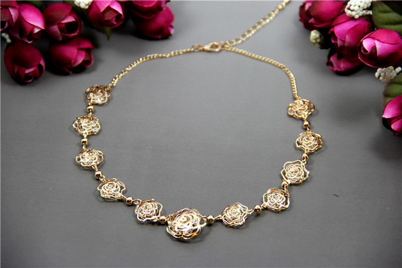 For nec klace top version camellia rose gold vacuum titanium camellia necklace chain short design(China (Mainland))