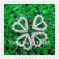 heart Shape Rhinestone Ribbon Buckle Sliders, 10mm, 200pcs/lot