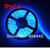Cheap 3Pcs/Lot Waterproof Blue 60LED/meter 300LED SMD 3528 LED Strip Flexible Light Free Shipping Droshippping
