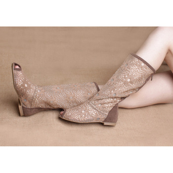 2013 woman summer Lace net flat boots long-barreled Knee-High open toe ankle boots female cool single boots flat euro size 35-41