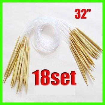 "18 Pairs 32""80cm Circular Smooth Bamboo Knitting Needles Sets 2.0mm-10mm Size"