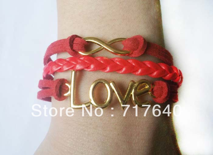Free shipping!6pcs/lot! Braided Red Leather Cord Infinity Symbol LOVE Bracelet 18k Gold Plated 2013 New Summer European Jewelry(China (Mainland))
