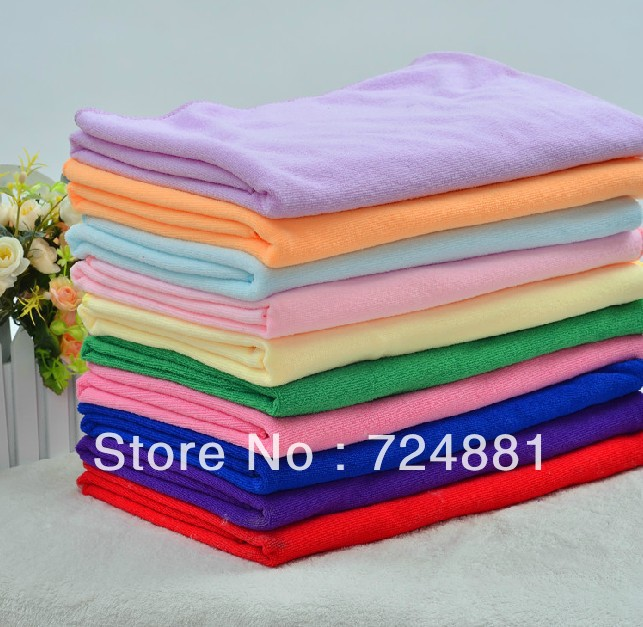 70cm * 140cm Plus size Shower microfiber towel soft adults kids super absorbent bath solid color towel thickening beach Wraps(China (Mainland))