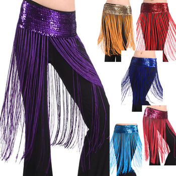 Hot Pink Sexy Belly Dance Costume Hip Scarf Belt Tribal Fringe Tassel Sequin Beautiful # L034927