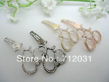 Fashion Jewelry Accessories Clear Rhinestones Scissors For Connector Four Color 24pcs