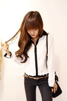 new Promotions!2013 hot summer Fashion trendy women blouse shirts Classic black and white Department shirt WA