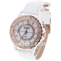 Fashion CaiQi A562 Ladies women's Watches with Diamonds Dots Hour Marks Quartz Round Dial Leather Watchband wrist watch