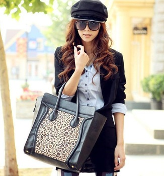 Free shipping Smile  face Leopard PU leather designer brand women tote bags