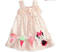Free Shipping baby girls minnie design t-shirt baby sweet mini dots dress sleeveless t-shirt bow knot clothes soft 5pcs/lot