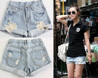 2013 Women Lady's Retro Vintage Style Light Blue Denim High Waist Flange Jean Shorts free shipping