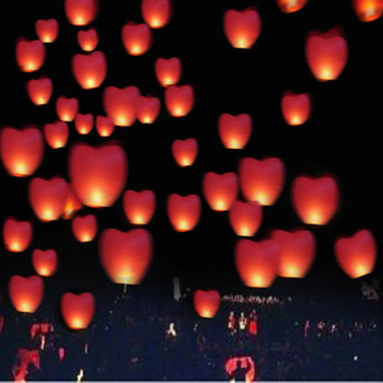 100pcs/lot Red Heart shaped UFO Lamp Wishing Chinese Sky Lantern