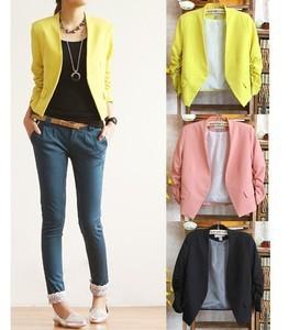 2013 New Korea Women Candy Color Solid Slim Fold Sleeve Suit Jacket Blazer Coat
