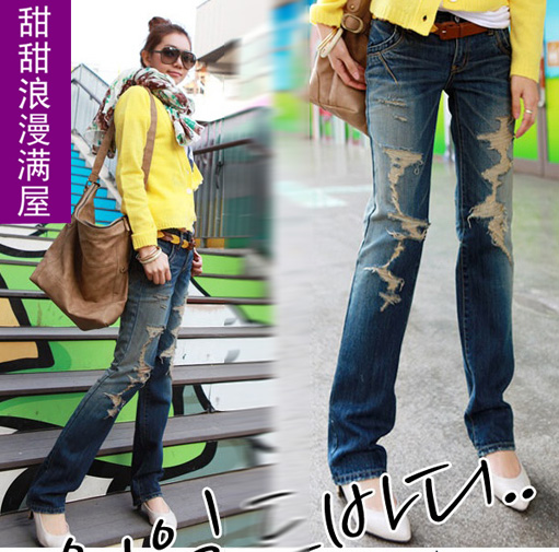 2013 women's d032 reminisced distrressed casual fashion letter slim legs denim trousers(China (Mainland))