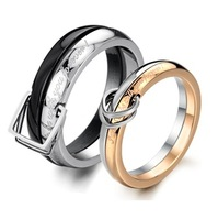 311 Unique Design Black Rose Gold Belt Buckle Stainless Steel Couple Love Promise Ring