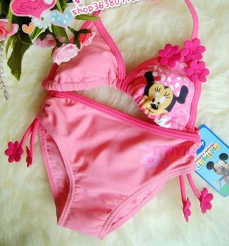 Free Shipping Girls Kids Size 1-9 Minnie Mouse Bikini Swimsuit Swimwear Bathing Swim Costume cheap cute Children's set GS09