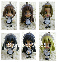 Free shipping 4cm Anime K-ON  PVC Figure Toy Phone Charm MP3 Strap (6 pcs/set )