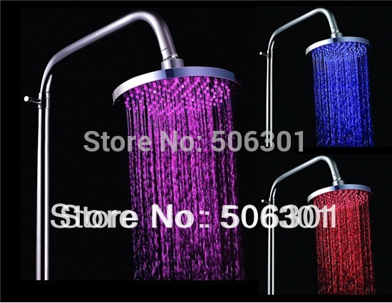 Free shipping + 30B2 Temperature Sensor Color Changing 8&quot; LED ABS Plastic Dome Shower (Silver)(China (Mainland))