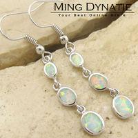 White Fire Opal Silver Fashion  Jewelry Women Dangle Earrings  OE783B  Wholesale & Retail