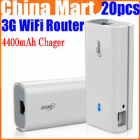 Free Express 20pcs/lot 3G 150Mbps Wireless WiFi Router AP Hotspot + 4400mAh Battery Mobile Charger Power Bank