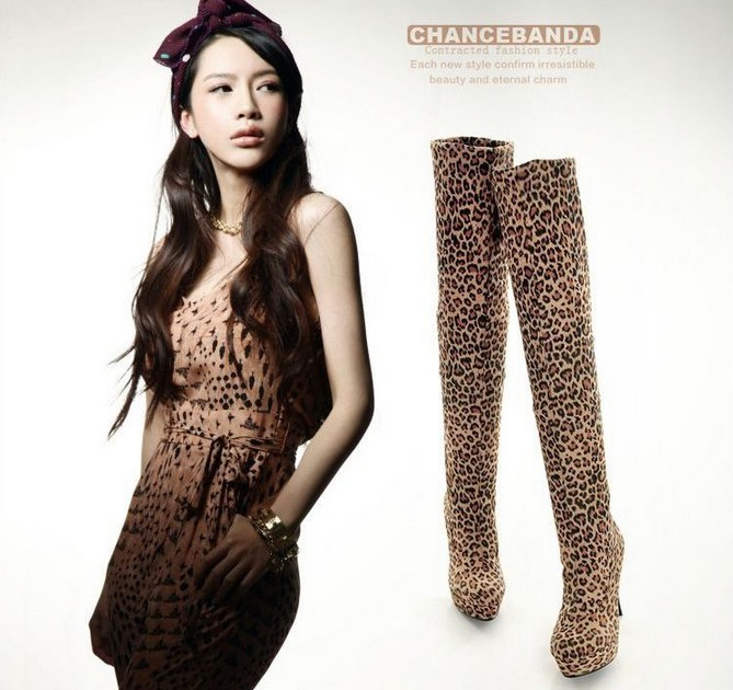 Free shipping wholesale leopard over knee boots high heel shoes fashion sexy long women platforms boot size 33-43(China (Mainland))