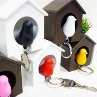 Bird Key Chain 10pcs/lot Creative love nest bird keychain / key chain with whistle Sparrow Free shipping