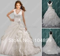 NEW 2013 New Sexy Mermaid Wedding Dresses V-Neck Spaghetti Organza Embroidery Beading Beach Dresses