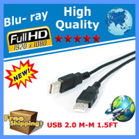 HOT SALE! 50PCS/LOT 1.5ft USB 2.0 A MALE M TO MALE EXTENSION CABLE for  modems, printers, scanners, VOIP devices