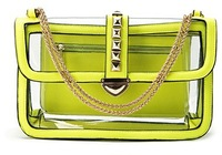 2013 TMC Summer New Portable Lady Lovely Rivet Solid Color Transparent Leisure Bag Messenger Purse Neon Yellow JY022