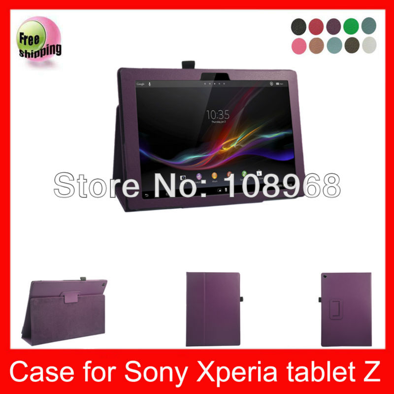 Auto Wake Sleep Function,High Quality PU Smart Cover Leather Case For Sony Xpeia Tablet Z 10.1'' Leather Case,Dark Purple(China (Mainland))
