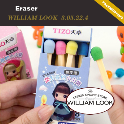Min.order is $25 (mix order) stationery Creative Little girl selling matches rubber eraser cute school promotion gift MMA305224(China (Mainland))