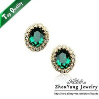 ZYE107 Green Crystal Earrings 18K Platinum Plated Fashion Jewelry Made with Austrian Crystal SWA Ele