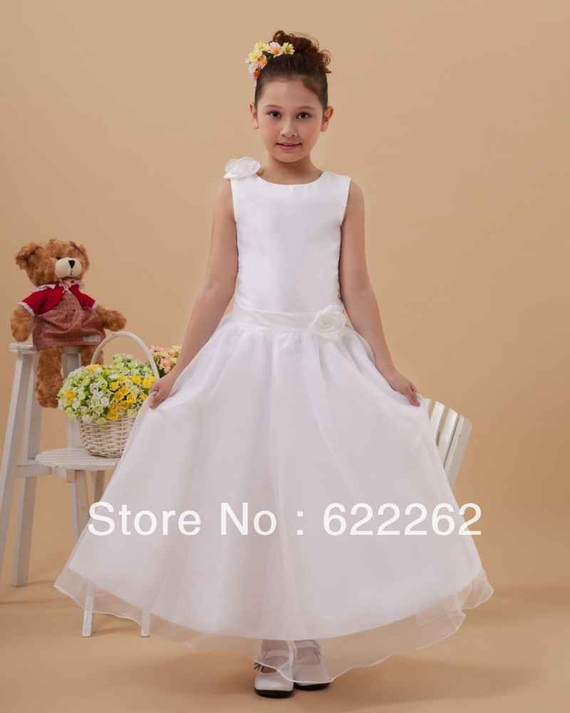 Hot Selling A Line Jewel Sleeveless Tea Length White Organza Handmade Flowers Lovely Flower Girl Dresses Discount(China (Mainland))
