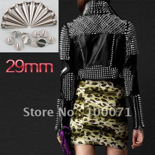 100Pcs/lot 29mm Metal Cone Screwback Studs and Spikes Punk Bracelet Leather Bags Cloth Shoe [12269|01|10](China (Mainland))