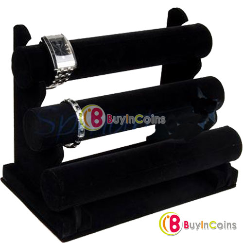 New Black 3-Tier Velvet Watch Bracelet Jewelry Display Holder Stand Rack[9333|01|01](China (Mainland))