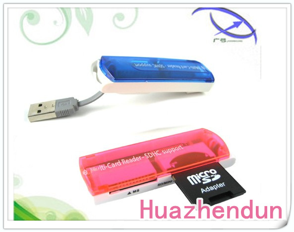 10pcs/lot Mini USB 2.0 Multi-functional Multislot Memory Card Reader Writer MS/M2/SD/TF Freeshipping!(China (Mainland))