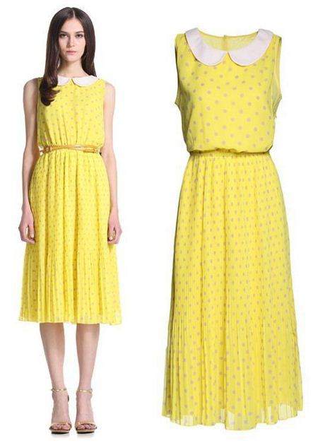 NEW IN 2013 SUMMER DOT PRINT MID CALF CHIFFON DRESSES PLEATED LEMON YELLOW CASUAL SLEEVELESS PETER PAN COLLAR WOMEN GIRL DRESS(China (Mainland))