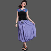 Free Shipping 2013 New Fashion cotton skirt purple pink Cuttanee flowers lacing puff skirt bud bottom fae8008
