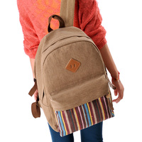 double-shoulder back canvas women backpack free shipping