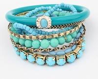 Bohemian ocean winds Refreshing blue beads Multilayer bangle bracelet