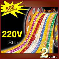RGB FREE SHIPPING 10M/pcs waterproof 85~230V high voltage LED Strip light BP-SMD5050-60leds RGB Color