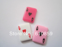 Free shipping!! (100pcs/lot) high quality kawaii flat back resin playing cards cabochons for decoration