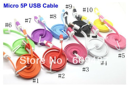 HOT selling Colorful Flat MICRO USB Data Cable USB 2.0,Compatibility All Micro USB Port Cell Phone 100PCS/LOT DHL Free(China (Mainland))