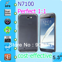 Galaxy note2 phone 1:1 dual core 1.6ghz Real 2GB ram 5.3 inch Android 4.1.1 MTK6577 Galaxy note ii n7100 phone Free shipping