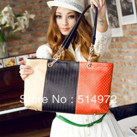 Best Selling!!2013 new style patchwork handbags women weave handbag sweet totes Free Shipping