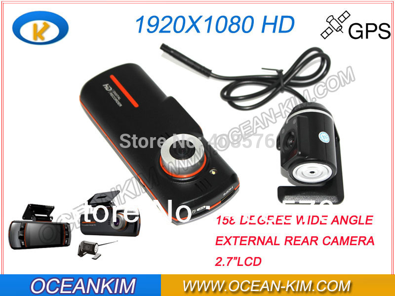 "X90 H.264 1920*1080P/20FPS 2.7"" LCD Carcam Dual Lens Car DVR Camera With 158 Wide Angle + External Camera(China (Mainland))"