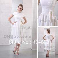 NEW Tea Length Wedding Dresses Bateau A-line Short Sleeves Chiffon Bridal Gowns