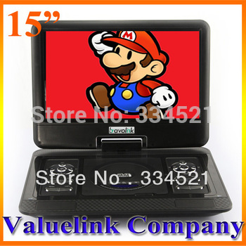 "New 15""Portable DVD Player USB Card Reader Game FM 270 Swivel LCD Screen free region Free Shipping MP0311"